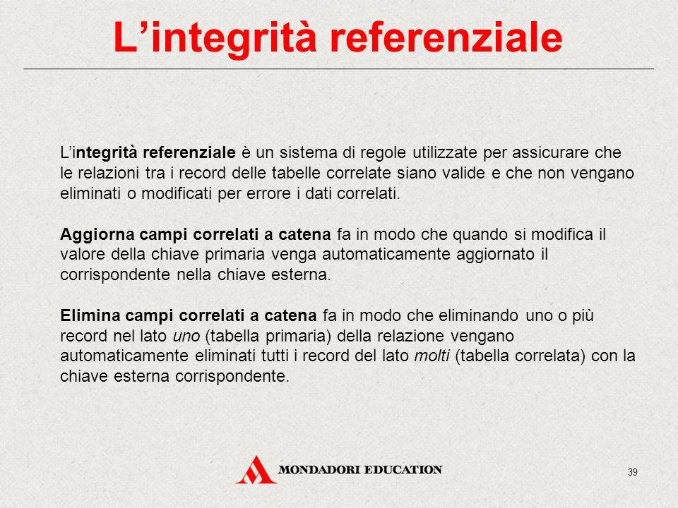 L'integrità referenziale L'integrità referenziale è un sistema di regole utilizzate per assicurare che le relazioni tra i record delle tabelle correlate siano valide e che non vengano eliminati o modificati per errore i dati correlati.
