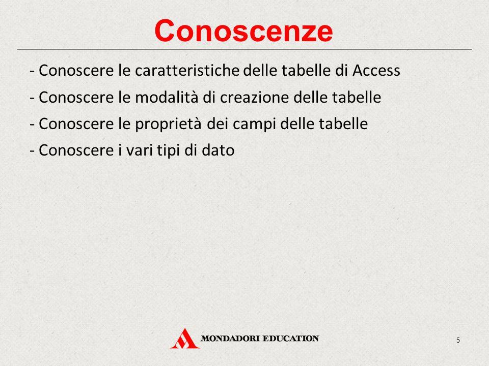 Conoscenze - Conoscere le caratteristiche delle tabelle di Access - Conoscere le modalità di creazione delle tabelle - Conoscere le proprietà dei campi delle tabelle - Conoscere i vari tipi di dato 5