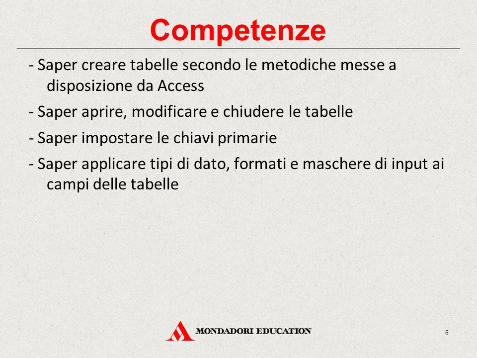 Competenze - Saper creare tabelle secondo le metodiche messe a disposizione da Access - Saper aprire, modificare e chiudere le tabelle - Saper impostare le chiavi primarie - Saper applicare tipi di dato, formati e maschere di input ai campi delle tabelle 6