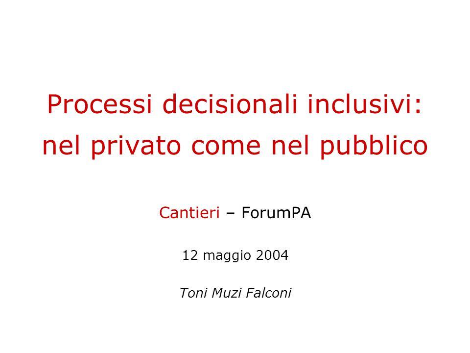 Processi decisionali inclusivi: nel privato come nel pubblico Cantieri – ForumPA 12 maggio 2004 Toni Muzi Falconi
