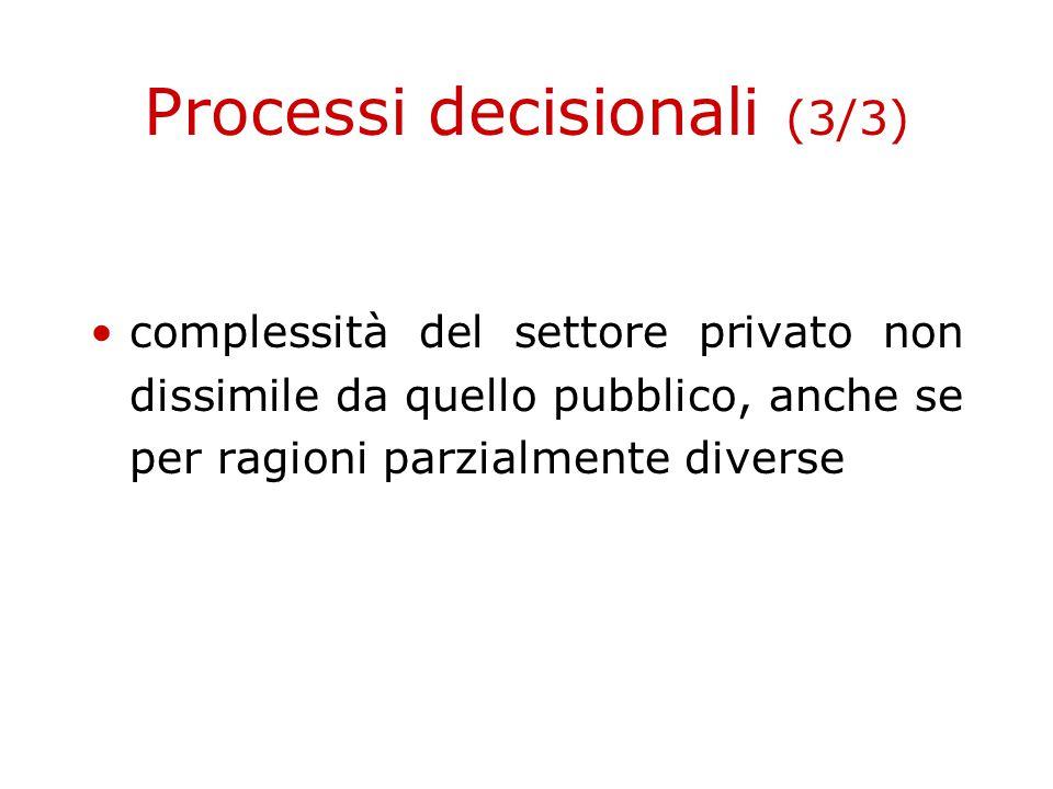 Processi decisionali (3/3) complessità del settore privato non dissimile da quello pubblico, anche se per ragioni parzialmente diverse