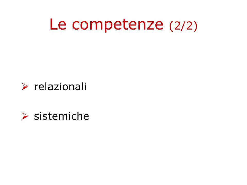 Le competenze (2/2)  relazionali  sistemiche
