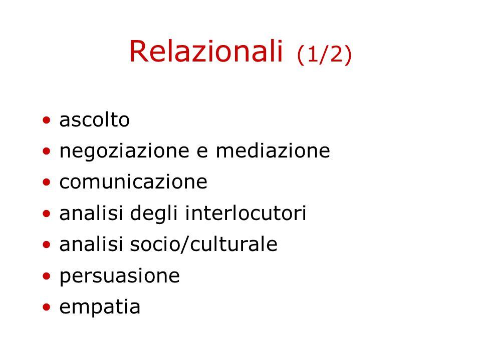 Relazionali (1/2) ascolto negoziazione e mediazione comunicazione analisi degli interlocutori analisi socio/culturale persuasione empatia