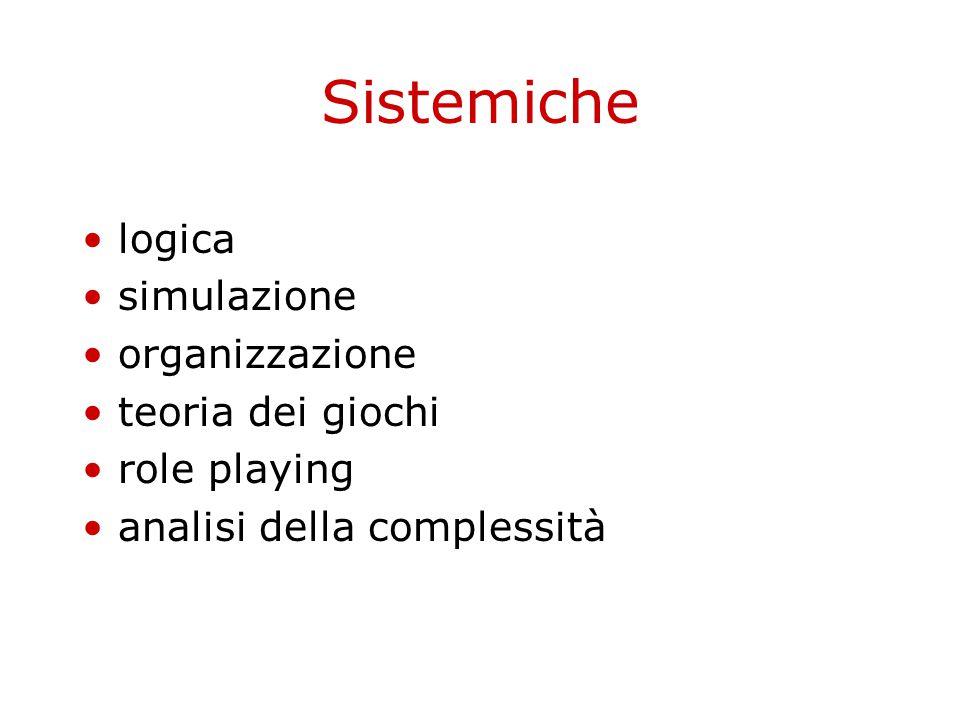 Sistemiche logica simulazione organizzazione teoria dei giochi role playing analisi della complessità