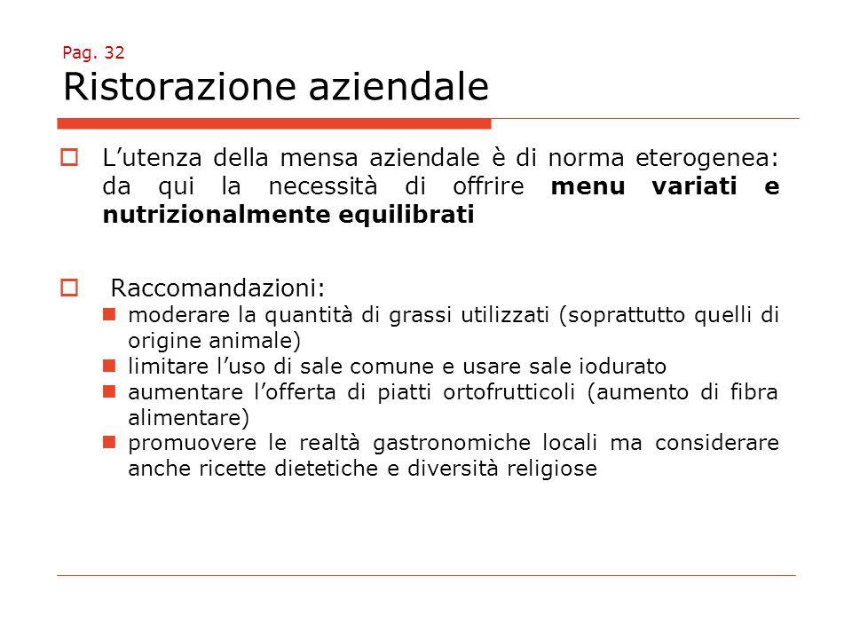 Pag. 32 Ristorazione aziendale  L'utenza della mensa aziendale è di norma eterogenea: da qui la necessità di offrire menu variati e nutrizionalmente