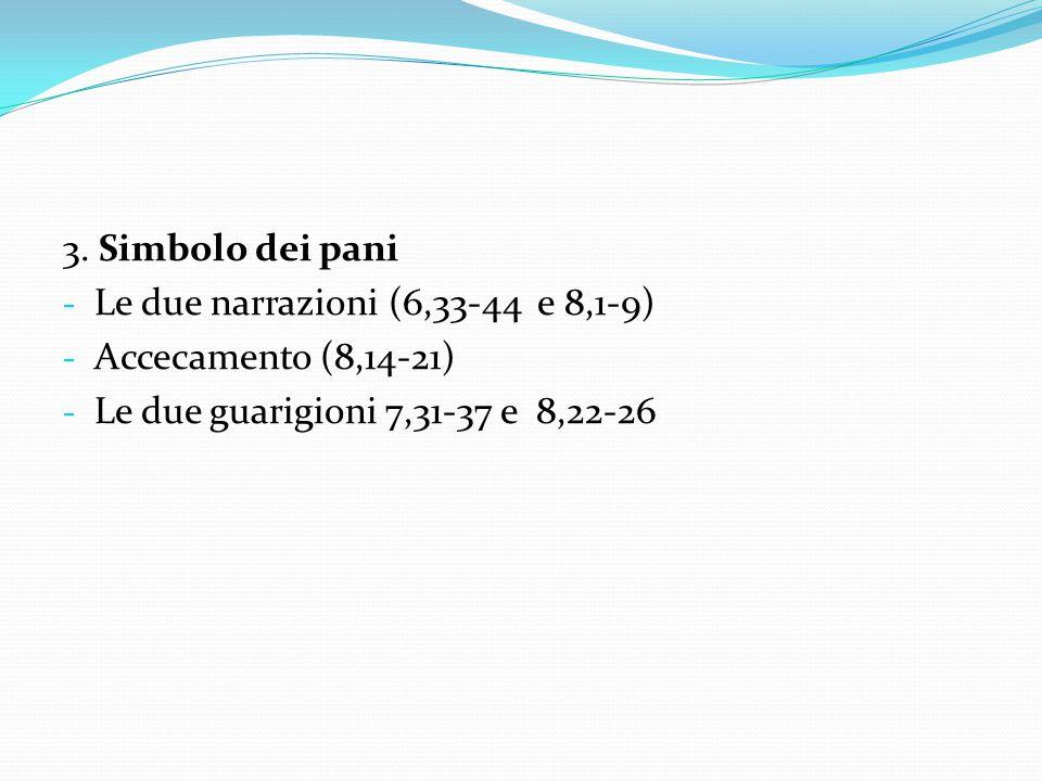 3. Simbolo dei pani - Le due narrazioni (6,33-44 e 8,1-9) - Accecamento (8,14-21) - Le due guarigioni 7,31-37 e 8,22-26