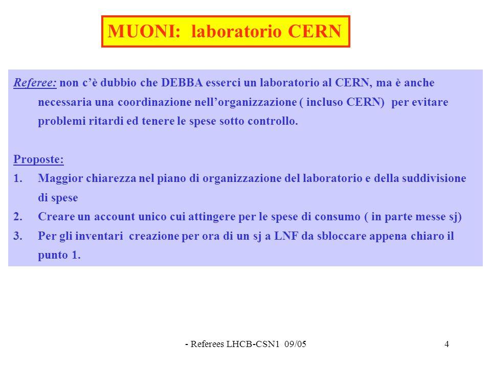 - Referees LHCB-CSN1 09/054 Referee: non c'è dubbio che DEBBA esserci un laboratorio al CERN, ma è anche necessaria una coordinazione nell'organizzazione ( incluso CERN) per evitare problemi ritardi ed tenere le spese sotto controllo.