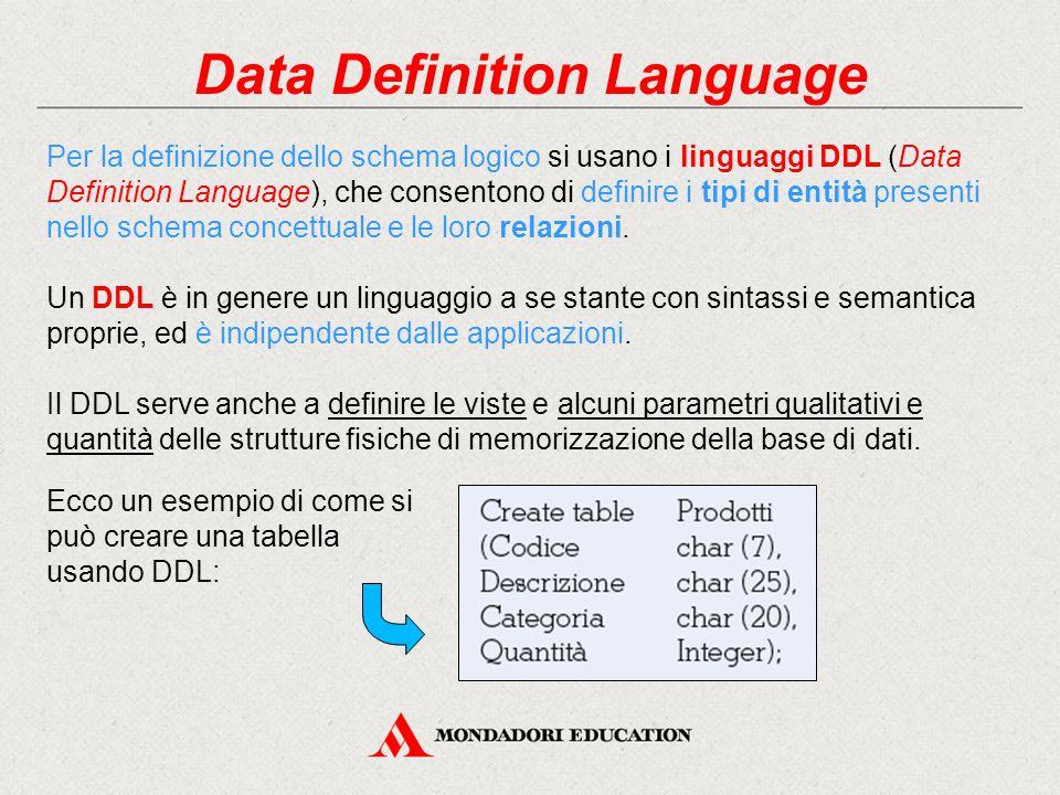 Data Definition Language Per la definizione dello schema logico si usano i linguaggi DDL (Data Definition Language), che consentono di definire i tipi