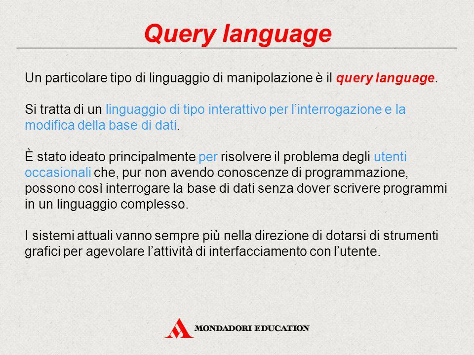 Query language Un particolare tipo di linguaggio di manipolazione è il query language. Si tratta di un linguaggio di tipo interattivo per l'interrogaz