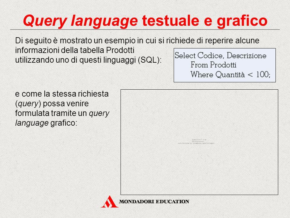 Query language testuale e grafico Di seguito è mostrato un esempio in cui si richiede di reperire alcune informazioni della tabella Prodotti utilizzan