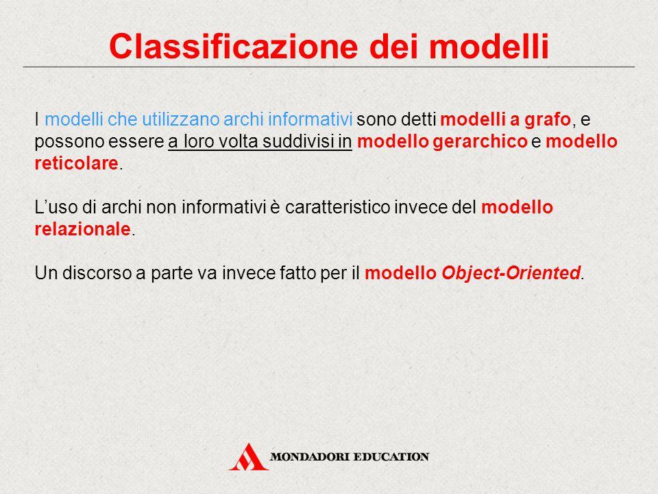 Classificazione dei modelli I modelli che utilizzano archi informativi sono detti modelli a grafo, e possono essere a loro volta suddivisi in modello