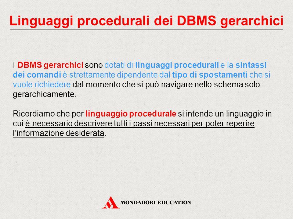 Linguaggi procedurali dei DBMS gerarchici I DBMS gerarchici sono dotati di linguaggi procedurali e la sintassi dei comandi è strettamente dipendente d