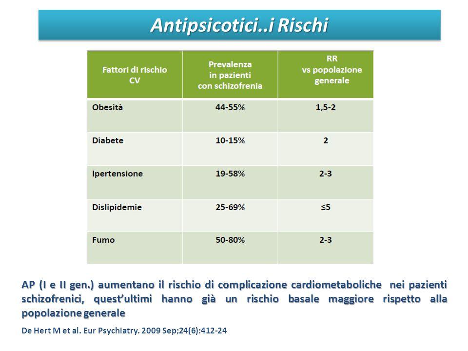 Antipsicotici..i Rischi AP (I e II gen.) aumentano il rischio di complicazione cardiometaboliche nei pazienti schizofrenici, quest'ultimi hanno già un rischio basale maggiore rispetto alla popolazione generale De Hert M et al.