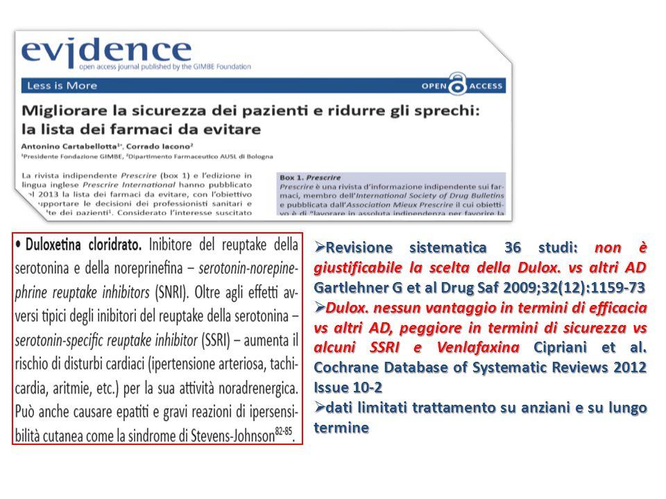  Revisione sistematica 36 studi: non è giustificabile la scelta della Dulox.