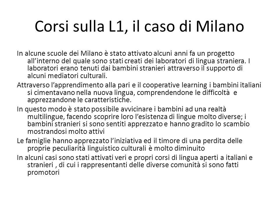 Corsi sulla L1, il caso di Milano In alcune scuole dei Milano è stato attivato alcuni anni fa un progetto all'interno del quale sono stati creati dei laboratori di lingua straniera.