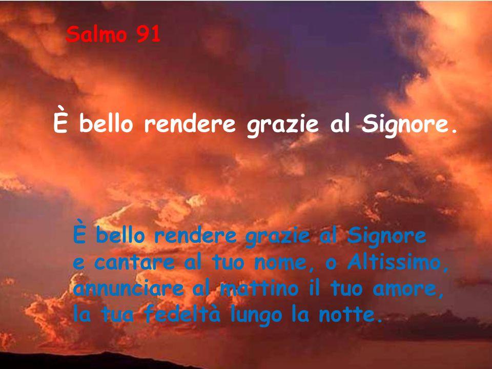 È bello rendere grazie al Signore e cantare al tuo nome, o Altissimo, annunciare al mattino il tuo amore, la tua fedeltà lungo la notte.
