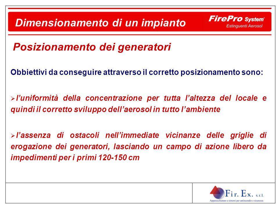 Dimensionamento di un impianto Obbiettivi da conseguire attraverso il corretto posizionamento sono:  l'uniformità della concentrazione per tutta l'al