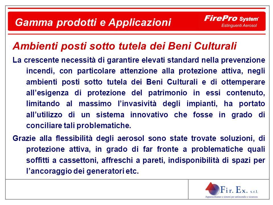 Gamma prodotti e Applicazioni Ambienti posti sotto tutela dei Beni Culturali La crescente necessità di garantire elevati standard nella prevenzione in