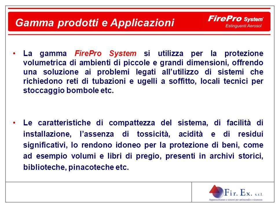 La gamma FirePro System si utilizza per la protezione volumetrica di ambienti di piccole e grandi dimensioni, offrendo una soluzione ai problemi legat