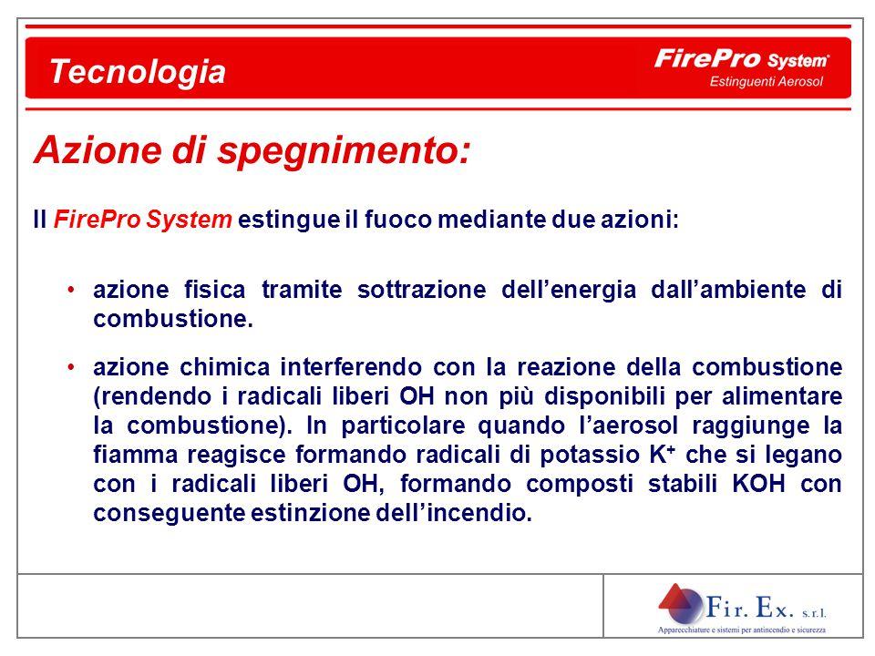 Il FirePro System estingue il fuoco mediante due azioni: azione fisica tramite sottrazione dell'energia dall'ambiente di combustione. azione chimica i