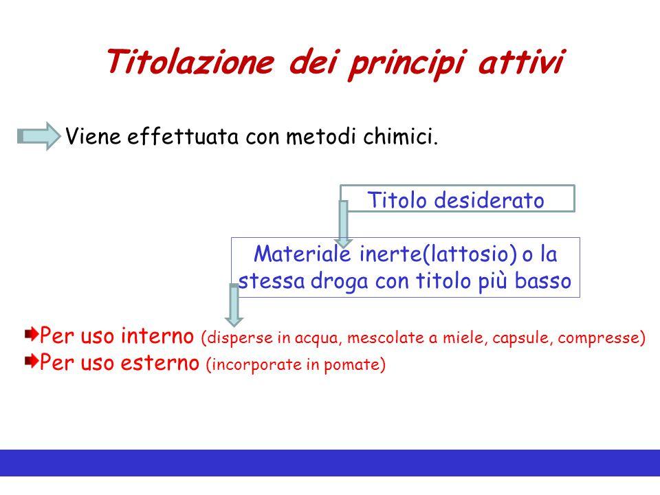 Titolazione dei principi attivi Viene effettuata con metodi chimici. Titolo desiderato Materiale inerte(lattosio) o la stessa droga con titolo più bas