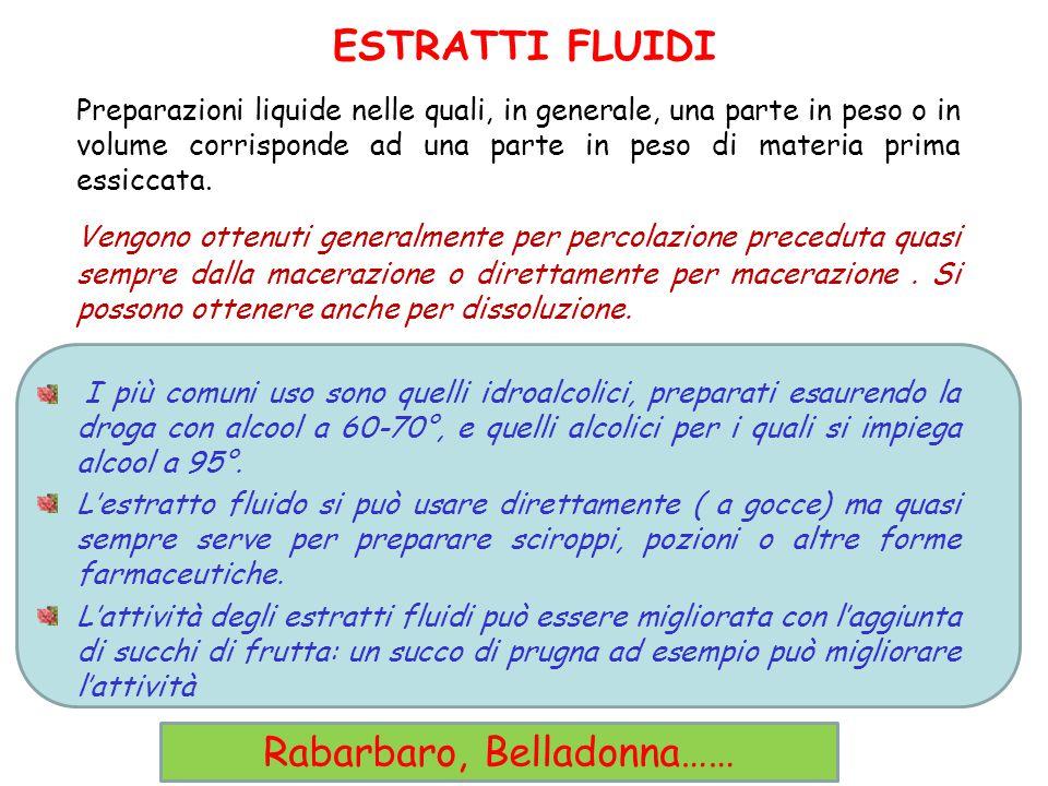 ESTRATTI FLUIDI Preparazioni liquide nelle quali, in generale, una parte in peso o in volume corrisponde ad una parte in peso di materia prima essicca