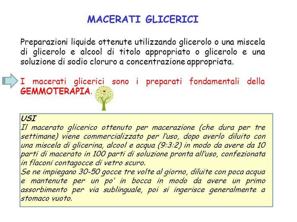 MACERATI GLICERICI Preparazioni liquide ottenute utilizzando glicerolo o una miscela di glicerolo e alcool di titolo appropriato o glicerolo e una sol