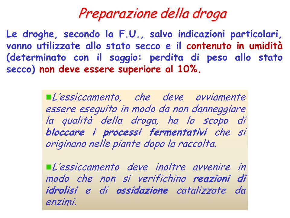 Preparazione della droga Le droghe, secondo la F.U., salvo indicazioni particolari, vanno utilizzate allo stato secco e il contenuto in umidità (deter