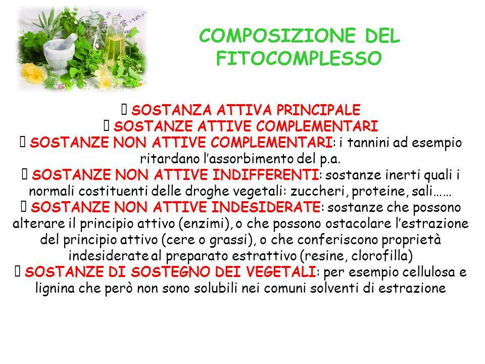 COMPOSIZIONE DEL FITOCOMPLESSO  SOSTANZA ATTIVA PRINCIPALE  SOSTANZE ATTIVE COMPLEMENTARI  SOSTANZE NON ATTIVE COMPLEMENTARI: i tannini ad esempio