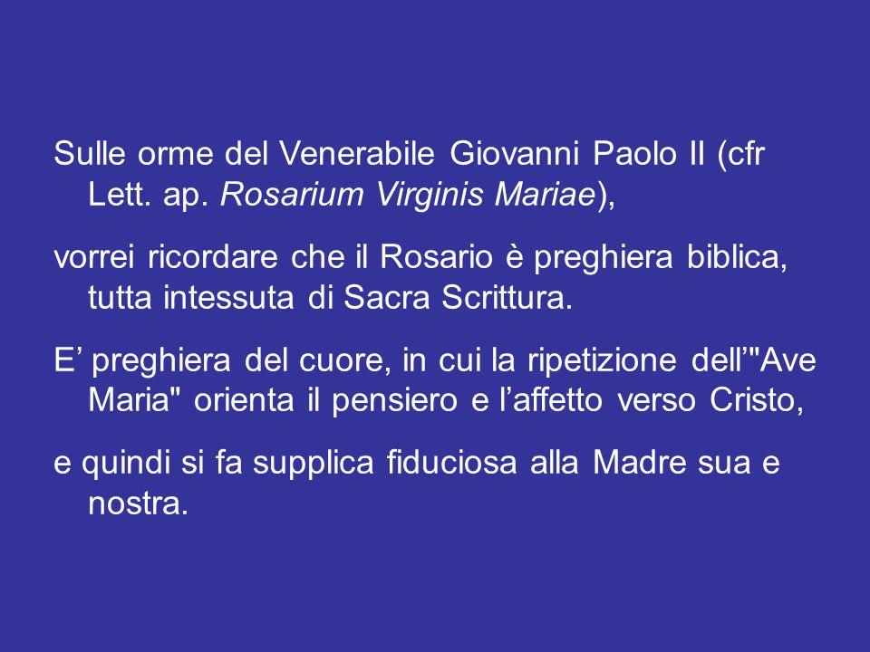 Si tratta, per così dire, di un'«intonazione spirituale» data dalla memoria liturgica della Beata Vergine Maria del Rosario, che si celebra il giorno 7 di ottobre.