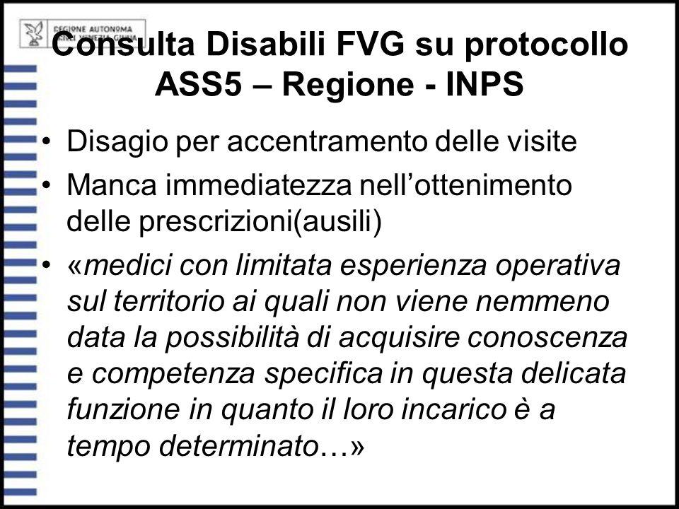 Consulta Disabili FVG su protocollo ASS5 – Regione - INPS Disagio per accentramento delle visite Manca immediatezza nell'ottenimento delle prescrizion
