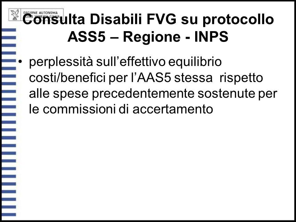 Consulta Disabili FVG su protocollo ASS5 – Regione - INPS perplessità sull'effettivo equilibrio costi/benefici per l'AAS5 stessa rispetto alle spese p