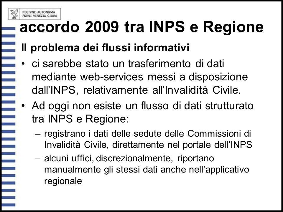 accordo 2009 tra INPS e Regione Il problema dei flussi informativi ci sarebbe stato un trasferimento di dati mediante web-services messi a disposizion