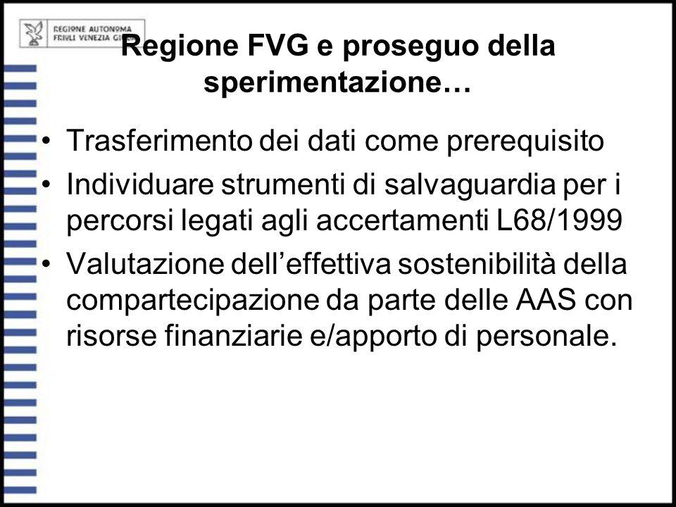 Regione FVG e proseguo della sperimentazione… Trasferimento dei dati come prerequisito Individuare strumenti di salvaguardia per i percorsi legati agl