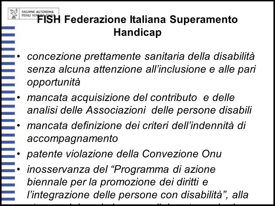 FISH Federazione Italiana Superamento Handicap concezione prettamente sanitaria della disabilità senza alcuna attenzione all'inclusione e alle pari op