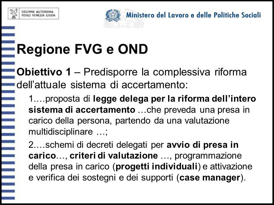 Regione FVG e OND Obiettivo 1 – Predisporre la complessiva riforma dell'attuale sistema di accertamento: 1.…proposta di legge delega per la riforma de