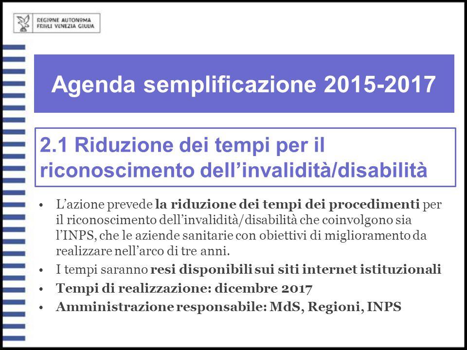 Agenda semplificazione 2015-2017 L'azione prevede la riduzione dei tempi dei procedimenti per il riconoscimento dell'invalidità/disabilità che coinvol
