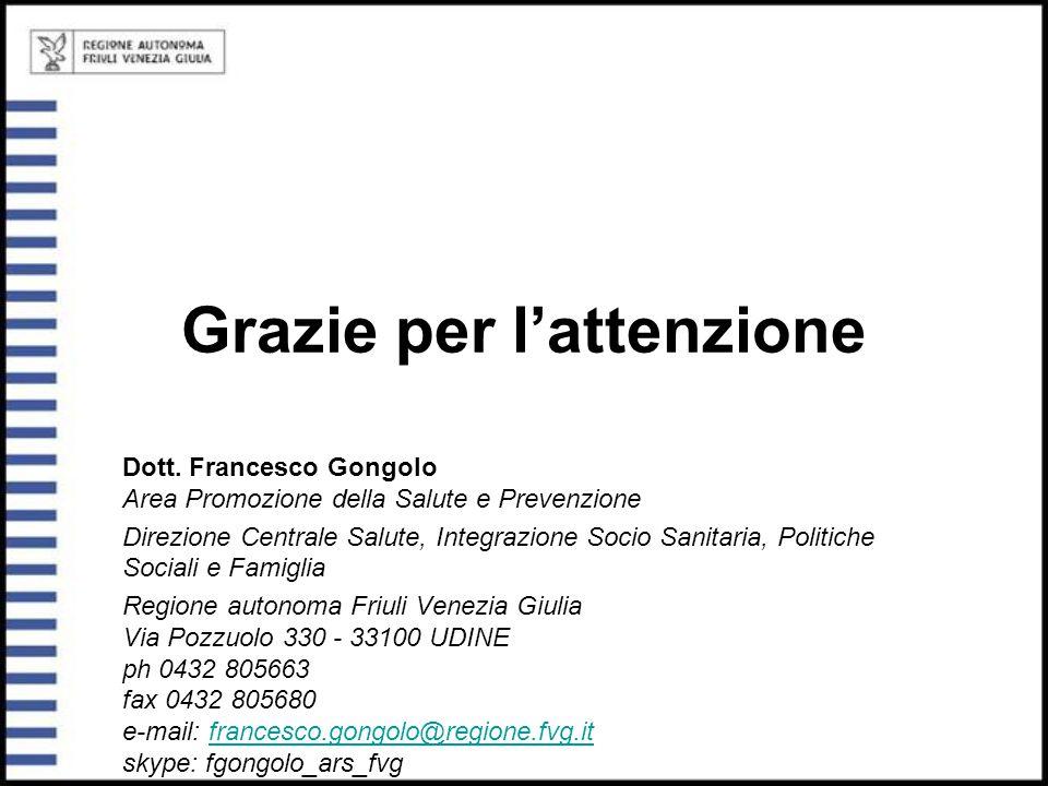 Grazie per l'attenzione Dott. Francesco Gongolo Area Promozione della Salute e Prevenzione Direzione Centrale Salute, Integrazione Socio Sanitaria, Po
