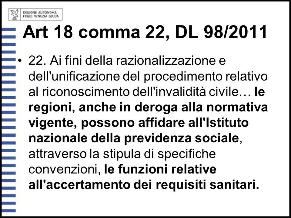 Art 18 comma 22, DL 98/2011 22. Ai fini della razionalizzazione e dell'unificazione del procedimento relativo al riconoscimento dell'invalidità civile