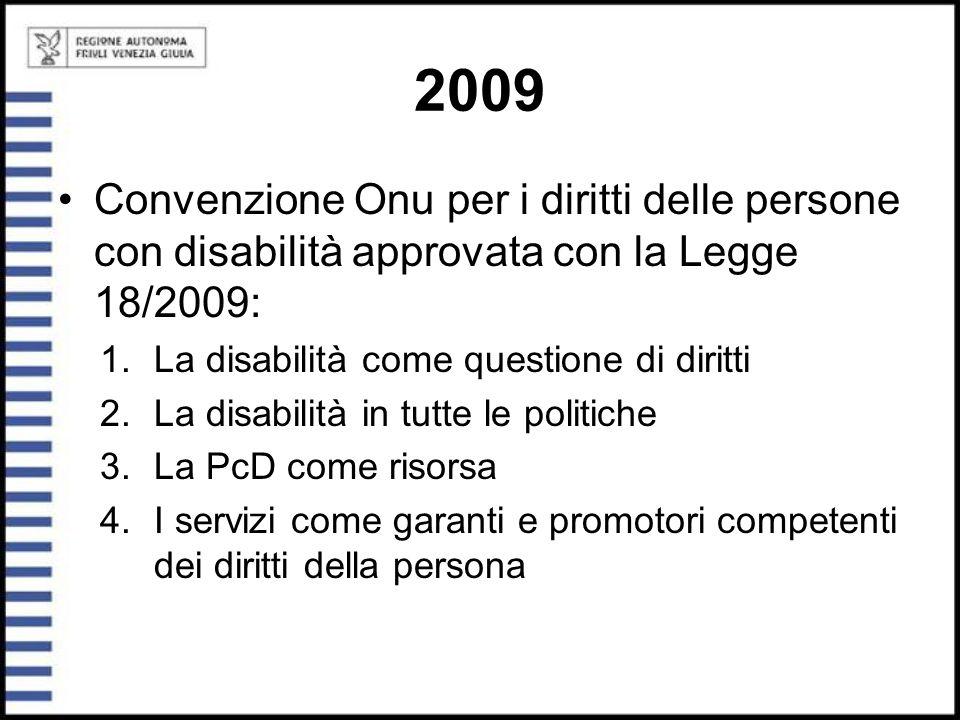 2009 Convenzione Onu per i diritti delle persone con disabilità approvata con la Legge 18/2009: 1.La disabilità come questione di diritti 2.La disabil