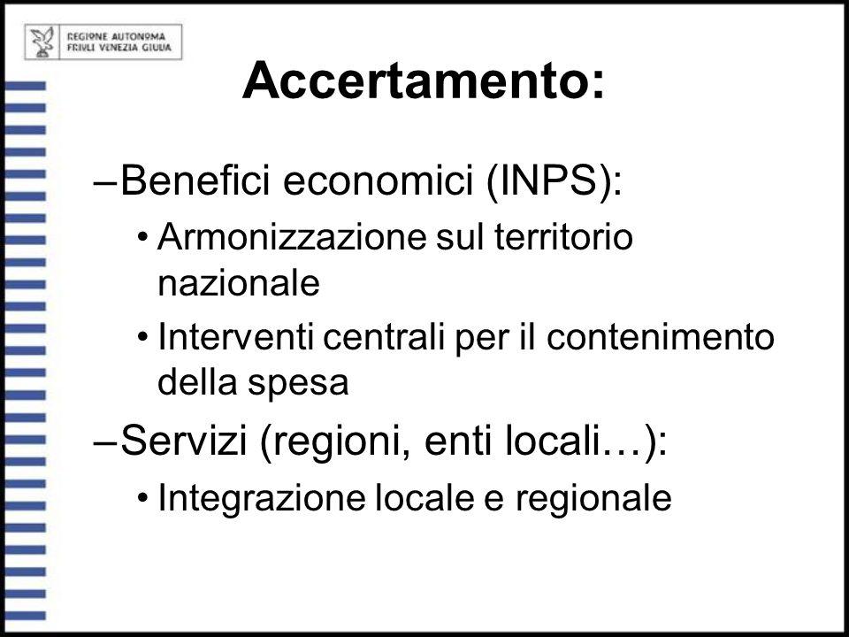 Accertamento: –Benefici economici (INPS): Armonizzazione sul territorio nazionale Interventi centrali per il contenimento della spesa –Servizi (region