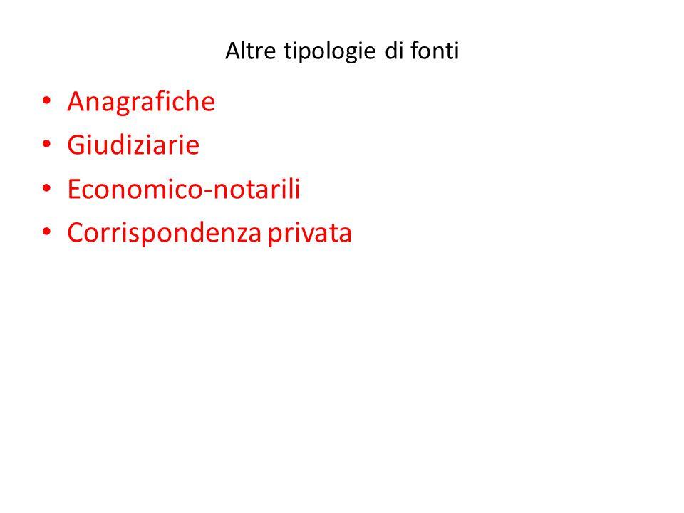 Altre tipologie di fonti Anagrafiche Giudiziarie Economico-notarili Corrispondenza privata