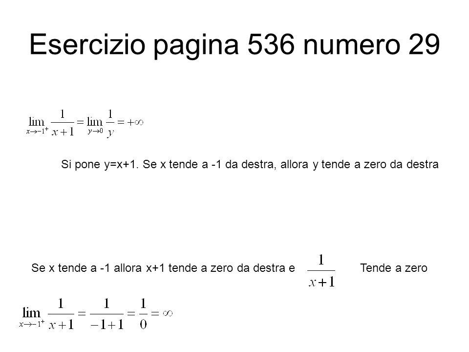 Esercizio pagina 536 numero 29 Si pone y=x+1. Se x tende a -1 da destra, allora y tende a zero da destra Se x tende a -1 allora x+1 tende a zero da de