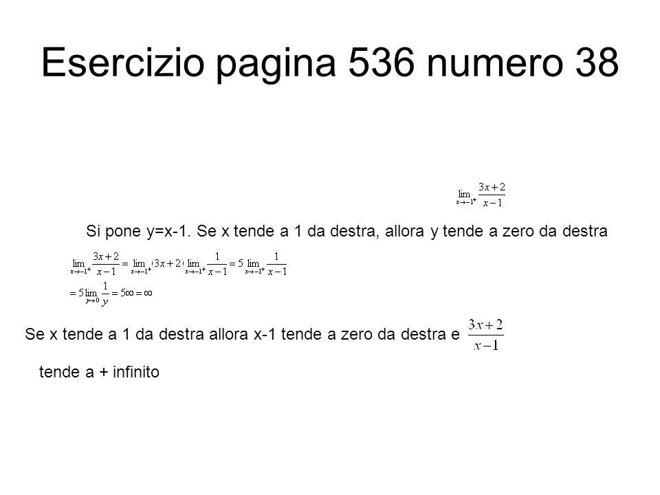 Esercizio pagina 536 numero 38 Si pone y=x-1. Se x tende a 1 da destra, allora y tende a zero da destra Se x tende a 1 da destra allora x-1 tende a ze
