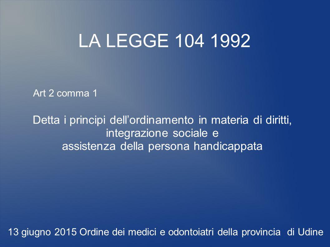 LA LEGGE 104 1992 Detta i principi dell'ordinamento in materia di diritti, integrazione sociale e assistenza della persona handicappata 13 giugno 2015