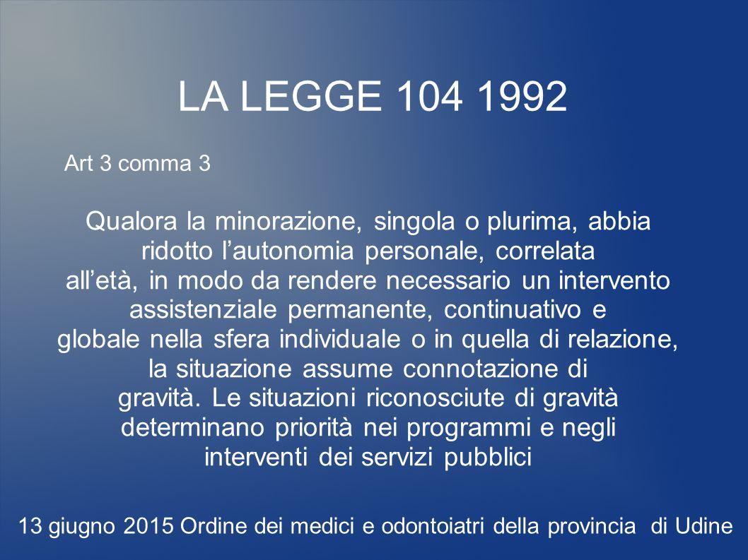 LA LEGGE 104 1992 Qualora la minorazione, singola o plurima, abbia ridotto l'autonomia personale, correlata all'età, in modo da rendere necessario un