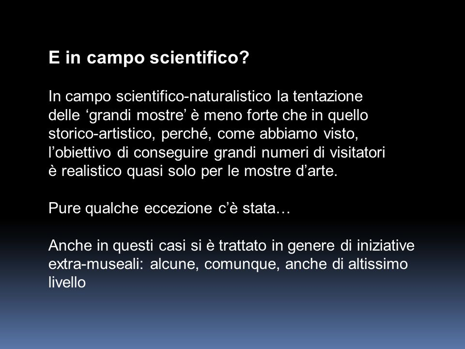 E in campo scientifico.