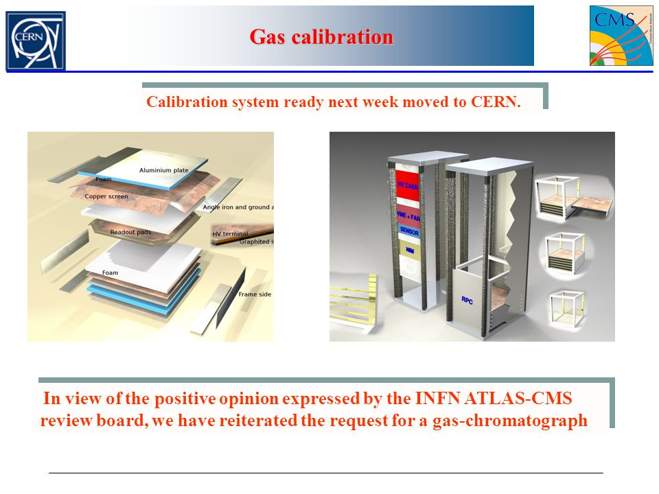 Calibration system ready next week moved to CERN. In view of the positive opinion expressed by the INFN ATLAS-CMS review board, we have reiterated the