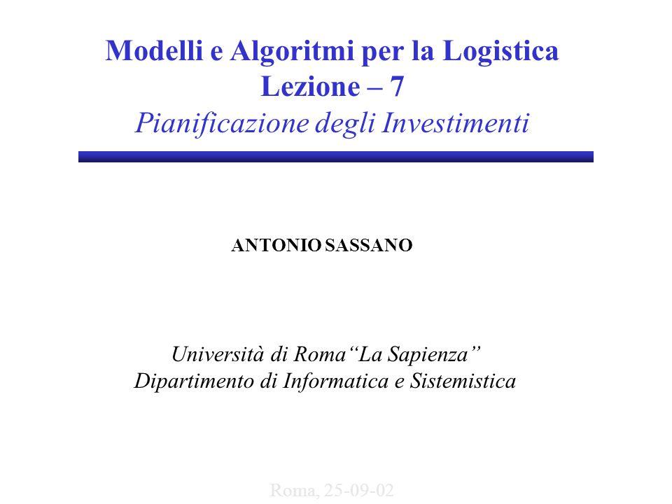 Modelli e Algoritmi per la Logistica Lezione – 7 Pianificazione degli Investimenti ANTONIO SASSANO Università di Roma La Sapienza Dipartimento di Informatica e Sistemistica Roma, 25-09-02