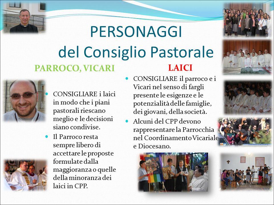 PERSONAGGI del Consiglio Pastorale LAICI CONSIGLIARE il parroco e i Vicari nel senso di fargli presente le esigenze e le potenzialità delle famiglie, dei giovani, della società.